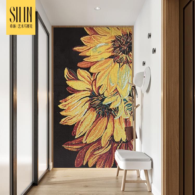 植物花卉通体玻璃马赛克拼图玄关背景墙简约现代走廊过道定制
