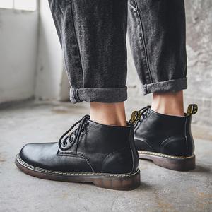 秋季黑色高帮鞋男英伦复古马丁靴