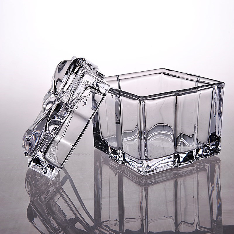 Glass sugar jar, coffee can, sugar jar, glassware, sugar jar, European style sugar jar, sugar cup, white granulated sugar