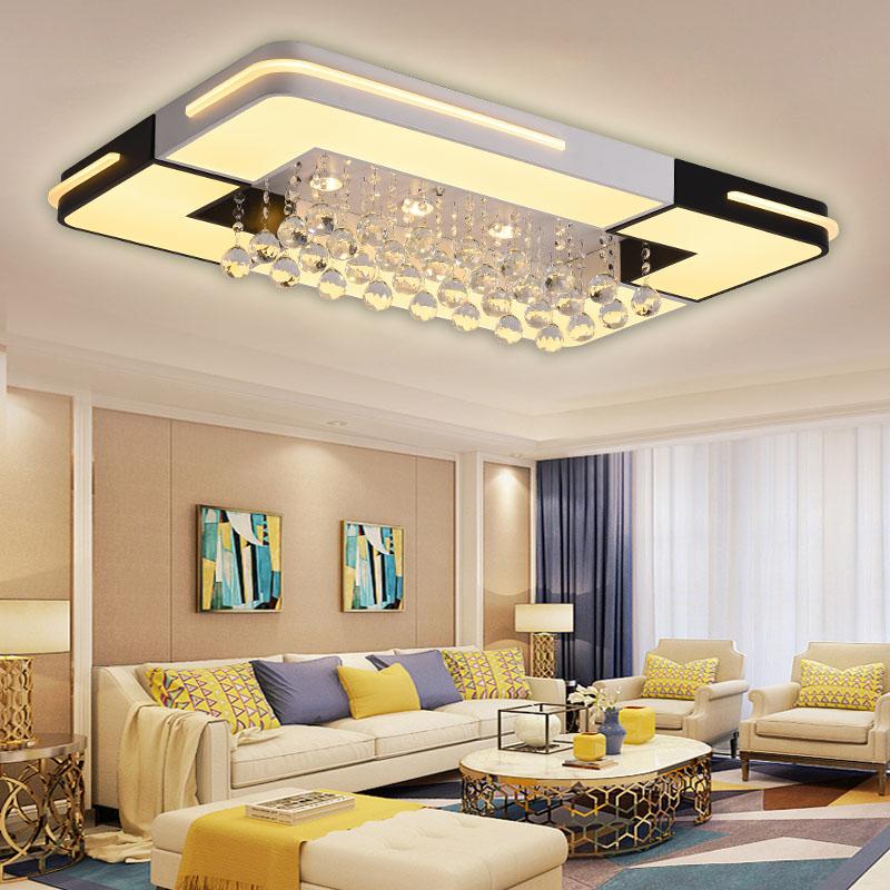 [艺米]新款水晶吸顶灯客厅灯简约现代大气家用长方形卧室餐厅吊灯智能语音LED灯2020新款全屋组合灯具套餐