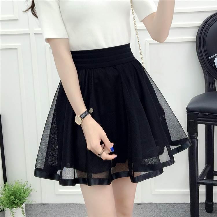 夏装女装网纱包臀臂下身步休闲中长款半身裙过膝盖及膝短裙子群