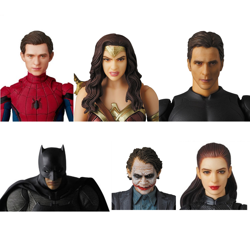 //Iron man, spider man, dead man, magic woman, Batman, Superman, clown, cat woman, lightning man, movable model hand