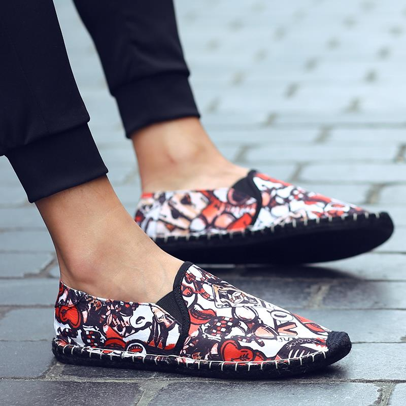 Hot summer new style canvas shoes mens casual shoes one foot cloth shoes youth low top slacker shoes sewing pattern