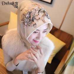 朵哈DUHA新款穆斯林头巾米黑立体花方便套头帽檐纱巾回族盖头包邮