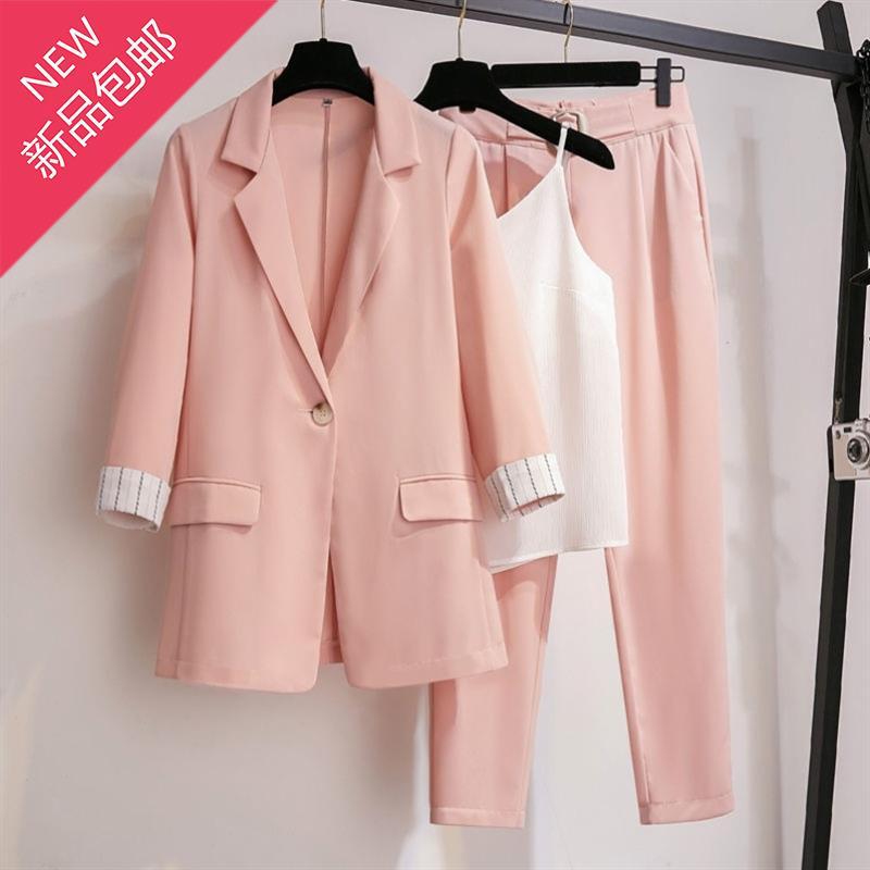 夏天三件套装女工作两件套韩版西服彩色直筒裤z英伦粉色七分袖时