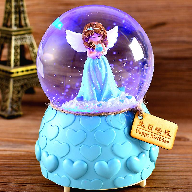 自动飘雪水晶球音乐盒八音盒雪花生日礼物送女生女孩公主儿童特别