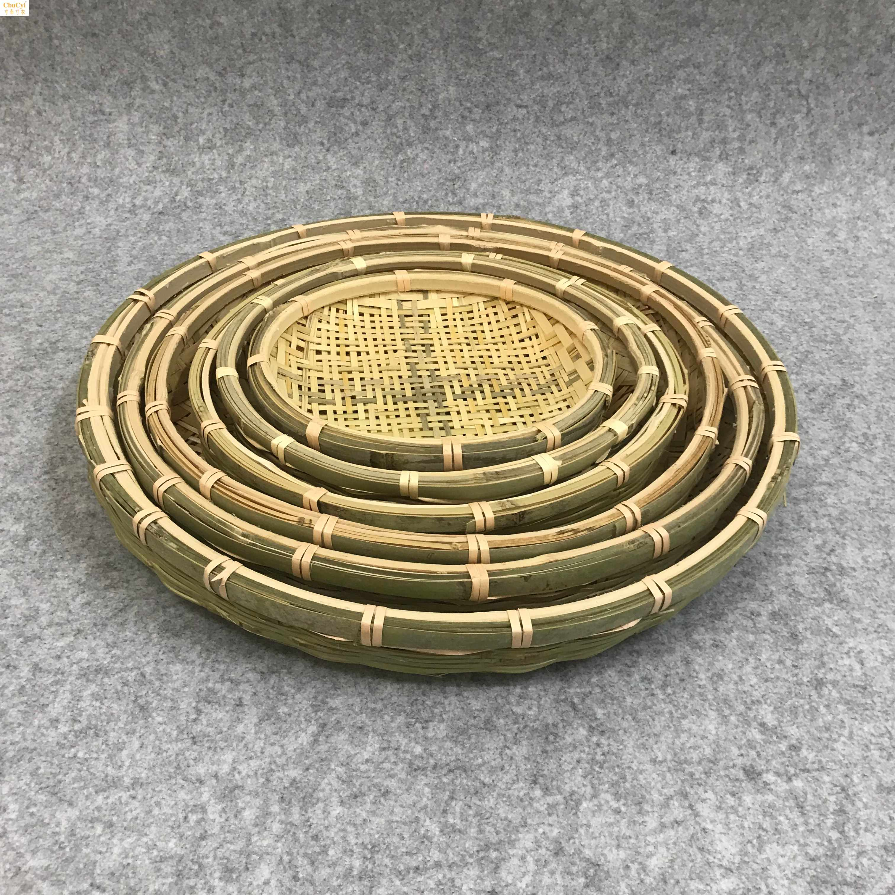 手工编织子家用圆形簸箕有孔凉晒干货竹匾米筛竹制品装饰