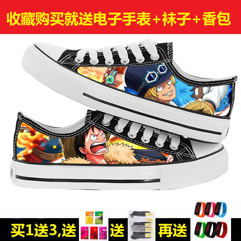 Cartoon pirate king low top sports board shoes for primary and secondary school students