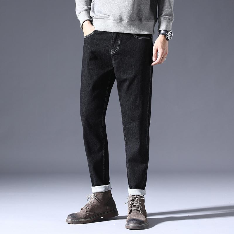 Mens Denim casual pants autumn / winter 2020 new slim fit versatile Leggings retro elastic Capris trend