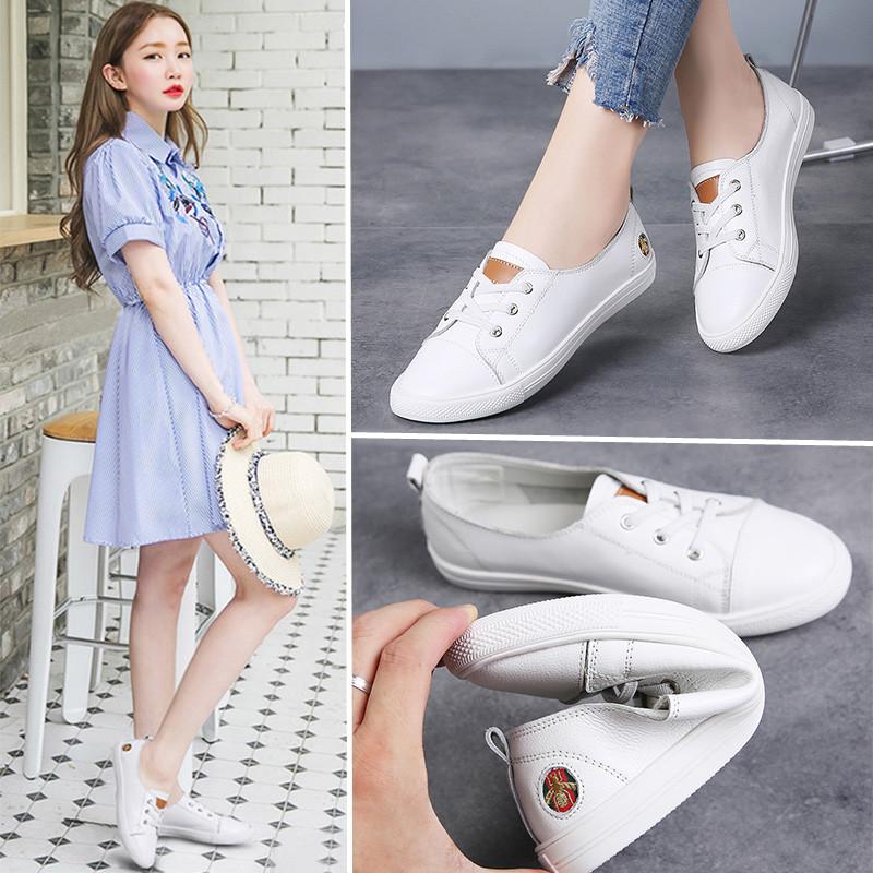 浅口小白鞋女2020洋气春款皮面一脚蹬百搭平底学生时尚懒人鞋女