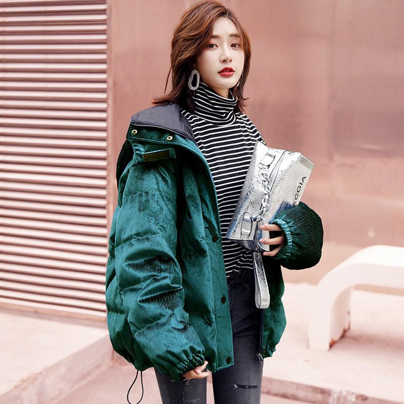 冬季灯芯绒面料柔亮条纹加厚保暖帽子可拆卸羽绒服上衣女装短外套