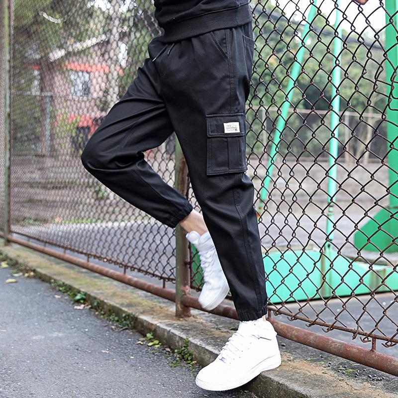 新款秋季纯棉工装裤男休闲裤男裤子男宽松裤九分裤哈伦裤百搭男裤