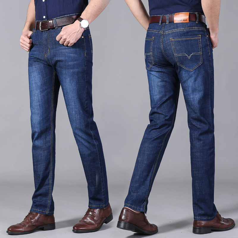 Mens jeans summer and autumn business casual slim fitting straight pants mens trousers elastic mid waist jeans