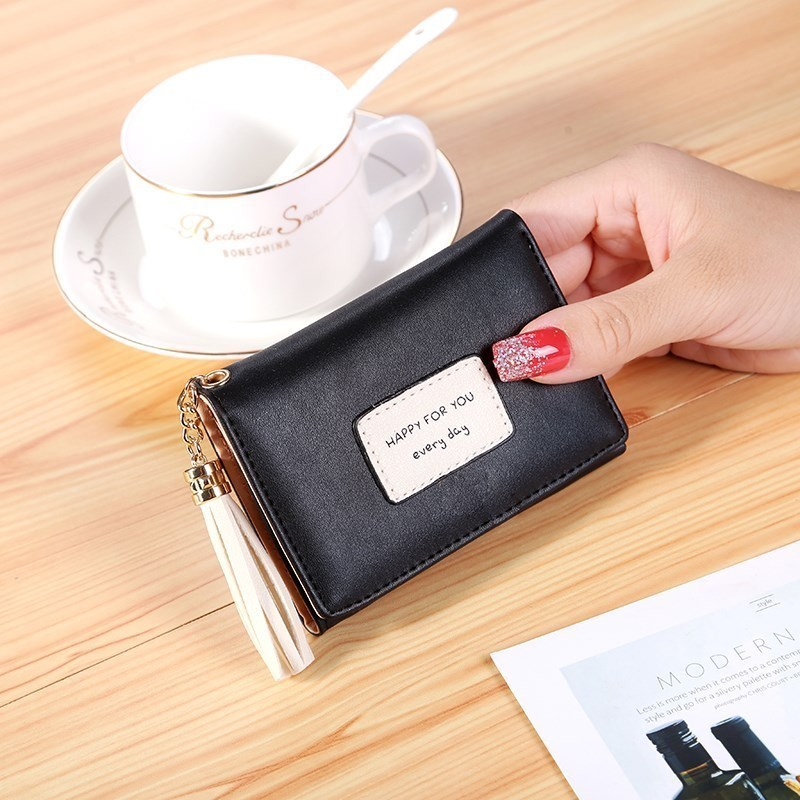 。 Small wallet womens short 2019 Mini student Mini Qing edition with three fold new coin pocket