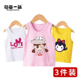 女童纯棉背心夏装2021新款儿童卡通无袖上衣婴儿宝宝吊带打底衫潮