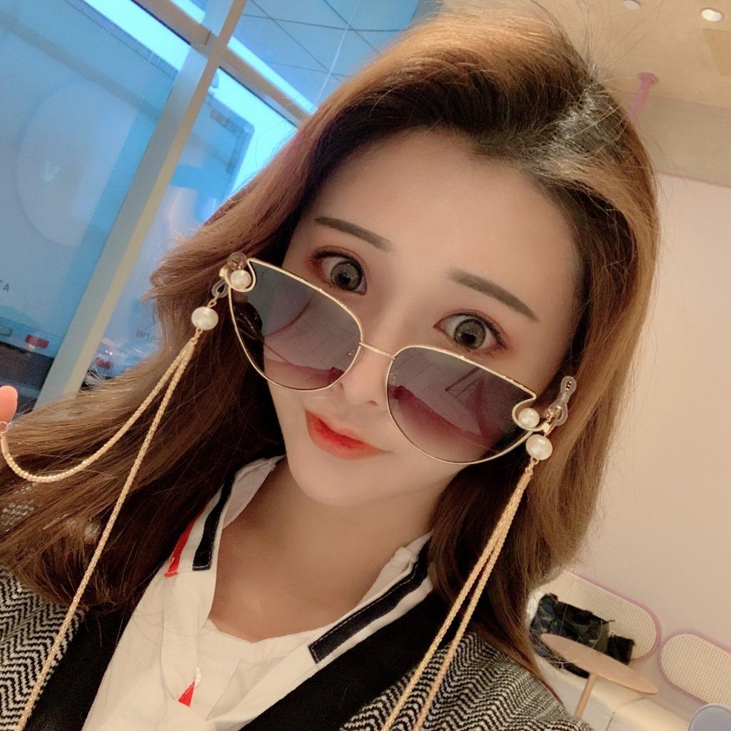 2021 new net red same cats eye pearl Sunglasses with chain fashion Korean Sunglasses Womens gradual change
