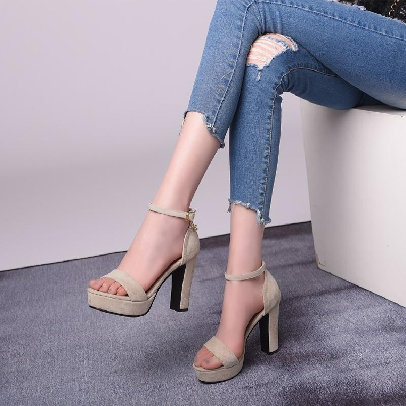 Shoes womens thick heel high-heeled sandals simple womens Suede wine Beige womens shoes large sandals small sandals Na