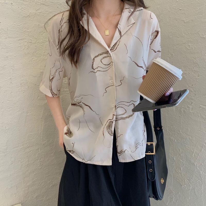 Chiffon shirt womens new fall 2020 V-Neck long sleeve loose design sense small foreign style professional Korean white shirt