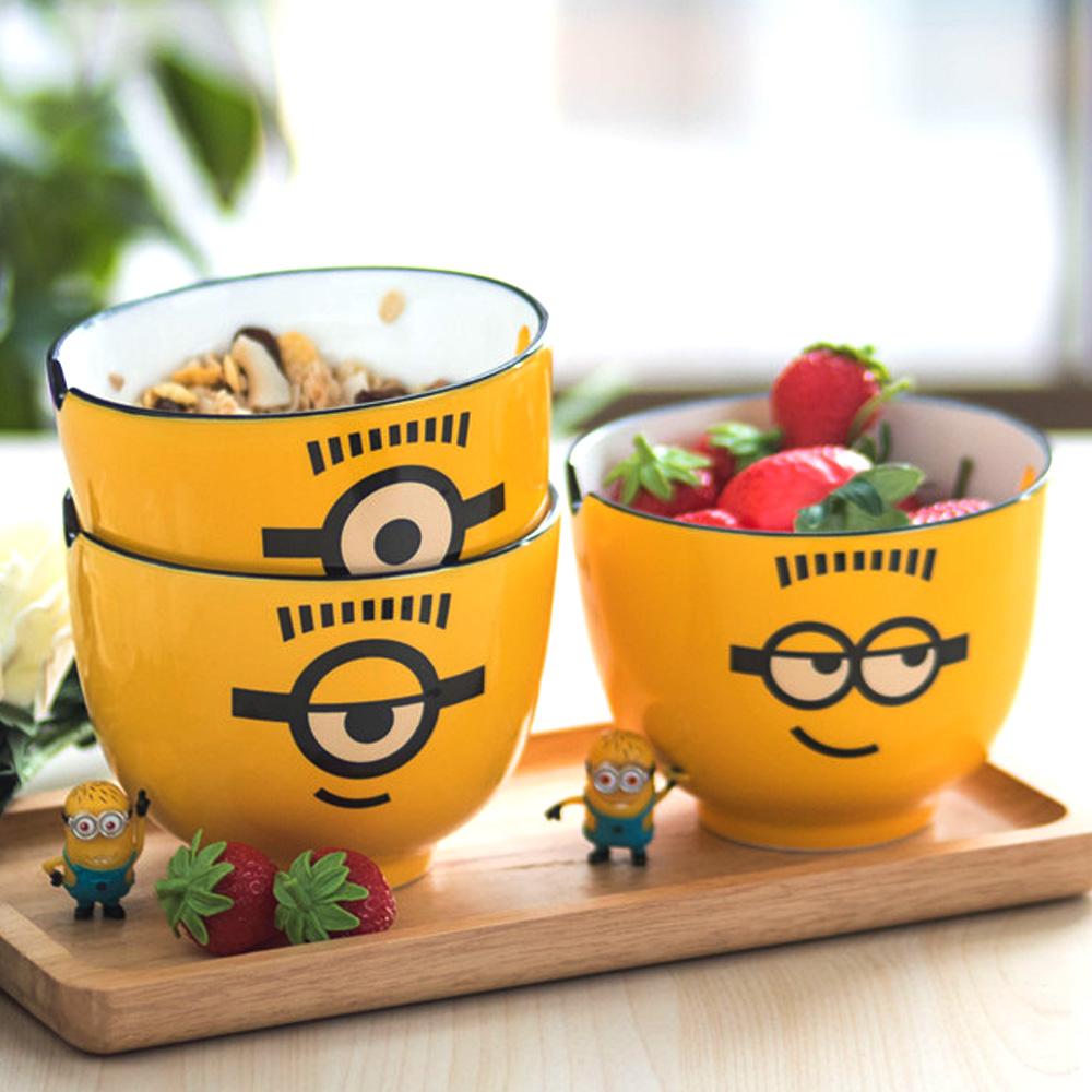 小黄人可爱陶瓷面碗超萌吃饭碗动漫卡通学生泡方便面大号汤碗5寸