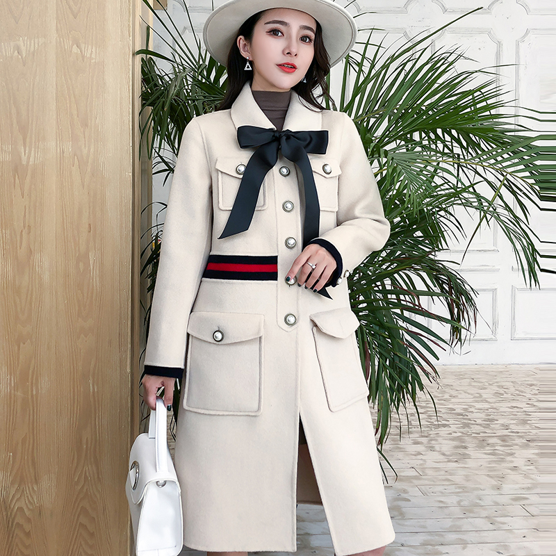 2021 autumn and winter New Retro small fragrance double-sided cashmere coat medium long womens Korean version small tweed coat