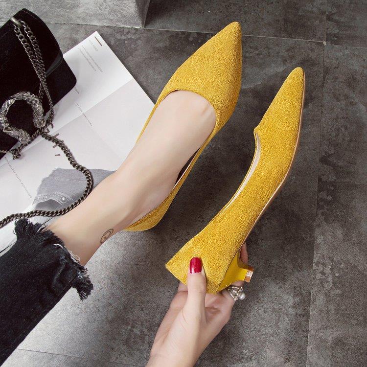鞋子女2019新款浅口女鞋高跟鞋尖头绒面黑色女低跟鞋女工作鞋