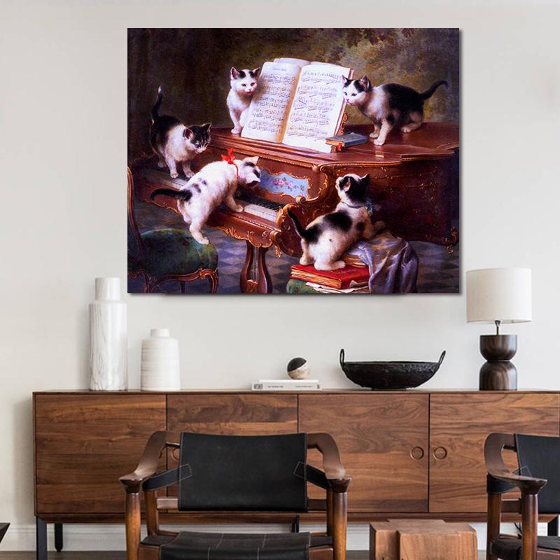 品都 一群可爱的猫咪diy数字油画手绘填色客厅餐厅玄关卧室装饰画