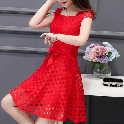 99夏季中长款新款短袖性感连衣裙