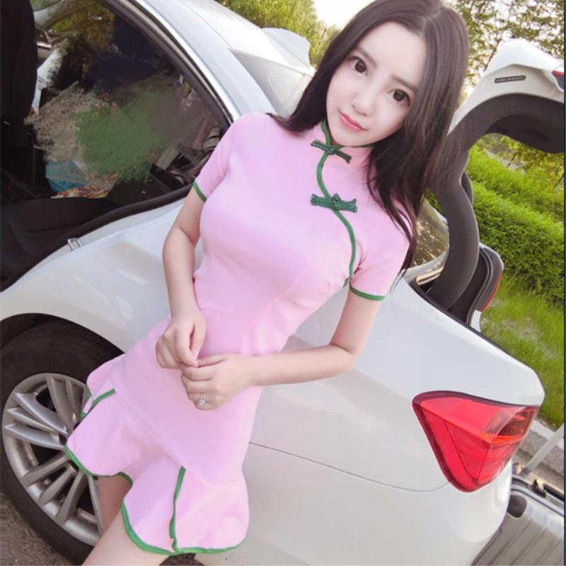 2018春夏季yy网络直播服装女装主播上镜衣服性感夜店旗袍连衣裙