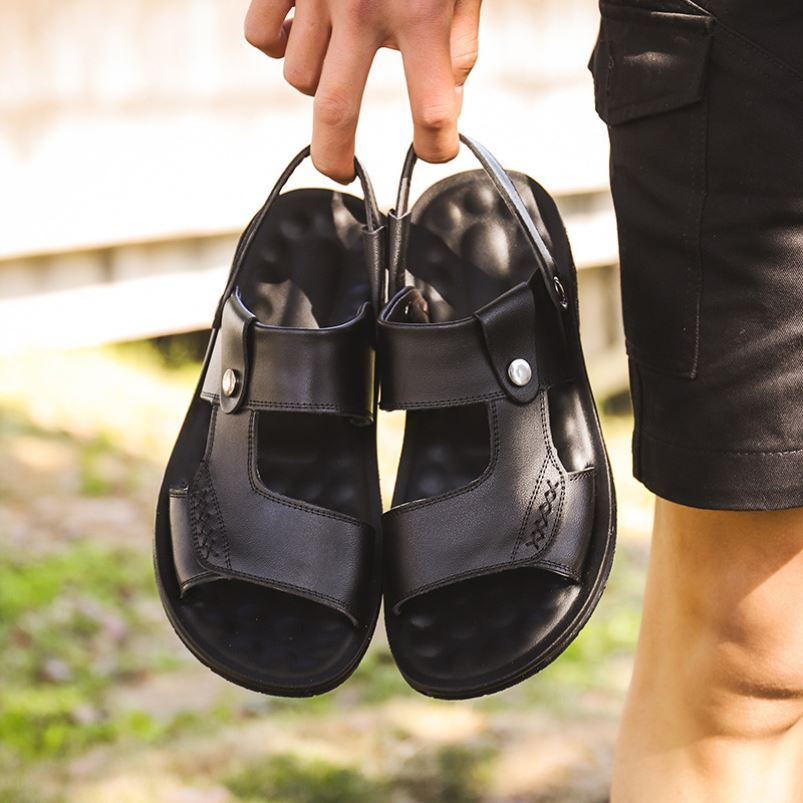 Dad sandals leather dual-purpose middle-aged household soft bottom leisure all season general buckle beach shoes plastic outdoor