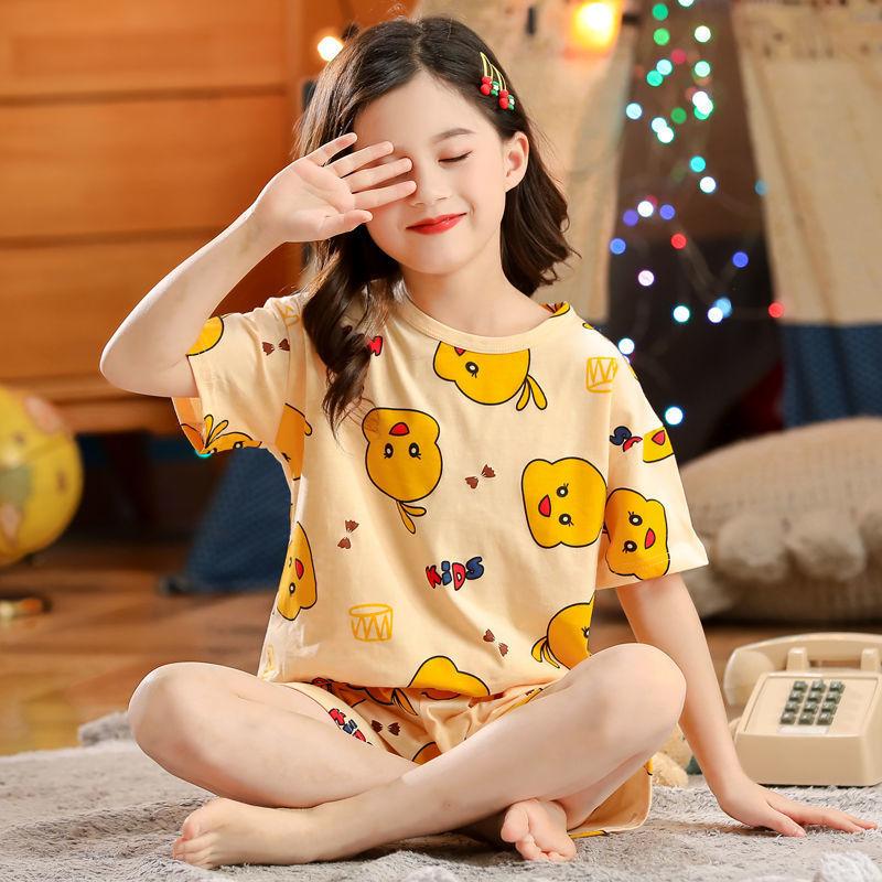 中國代購|中國批發-ibuy99|睡衣女|儿童短袖套装纯棉睡衣夏季薄款女童家居服套装女宝短袖小孩空调服