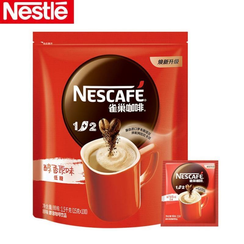 Nestle / Nestle coffee 1 + 2 original three in one instant coffee powder 15g * 100 square packs 1500g bags