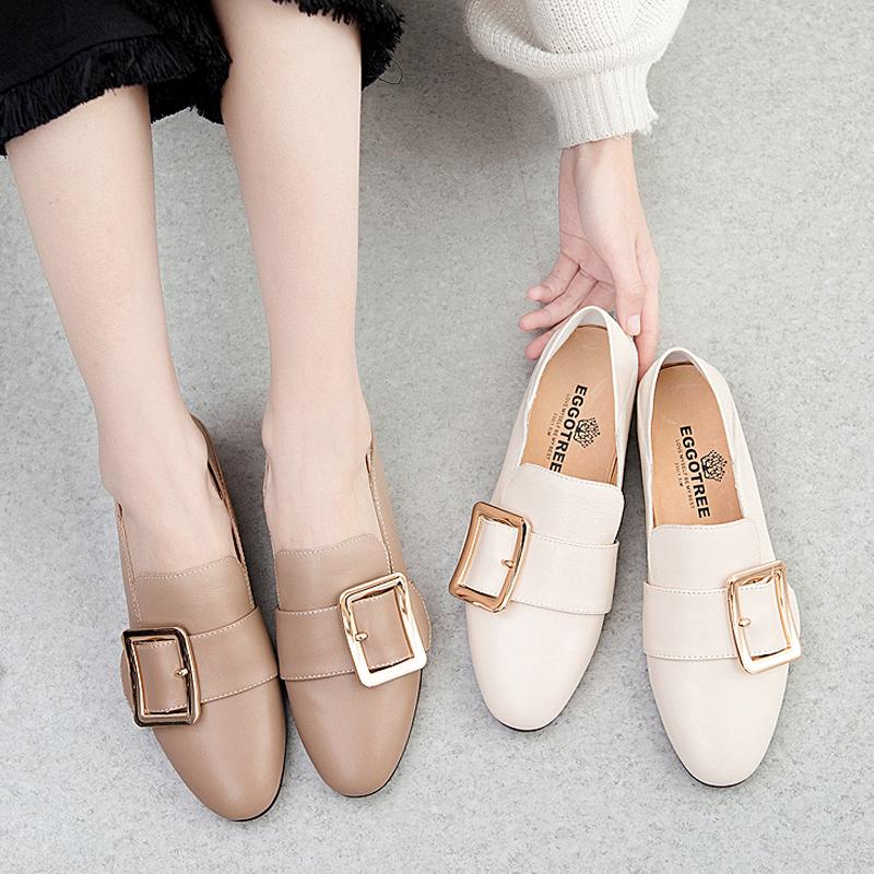 2019新款小皮鞋女英伦网红单鞋平底鞋真皮乐福鞋女踩跟方扣穆勒鞋