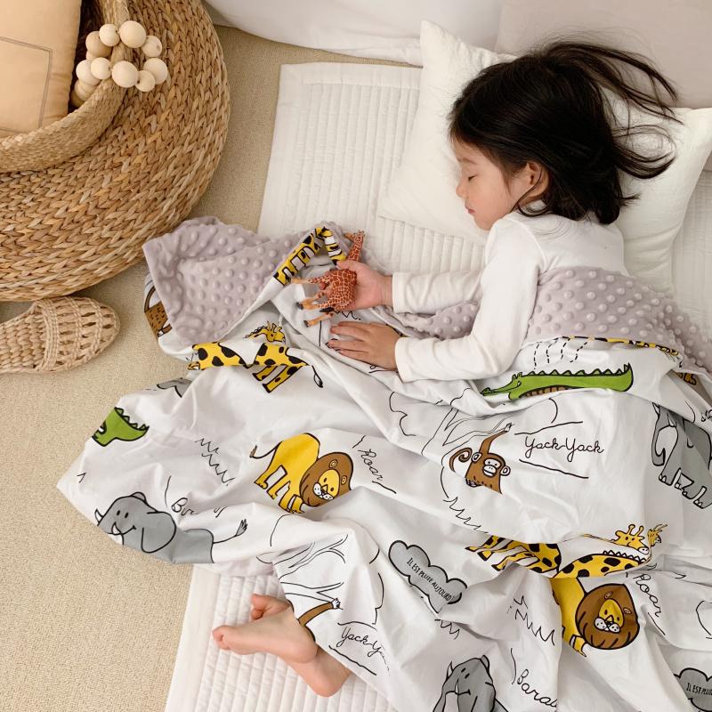 ins风可爱卡通儿童豆豆毯毛毯夏季新生婴儿盖毯幼儿园小毯子薄毯