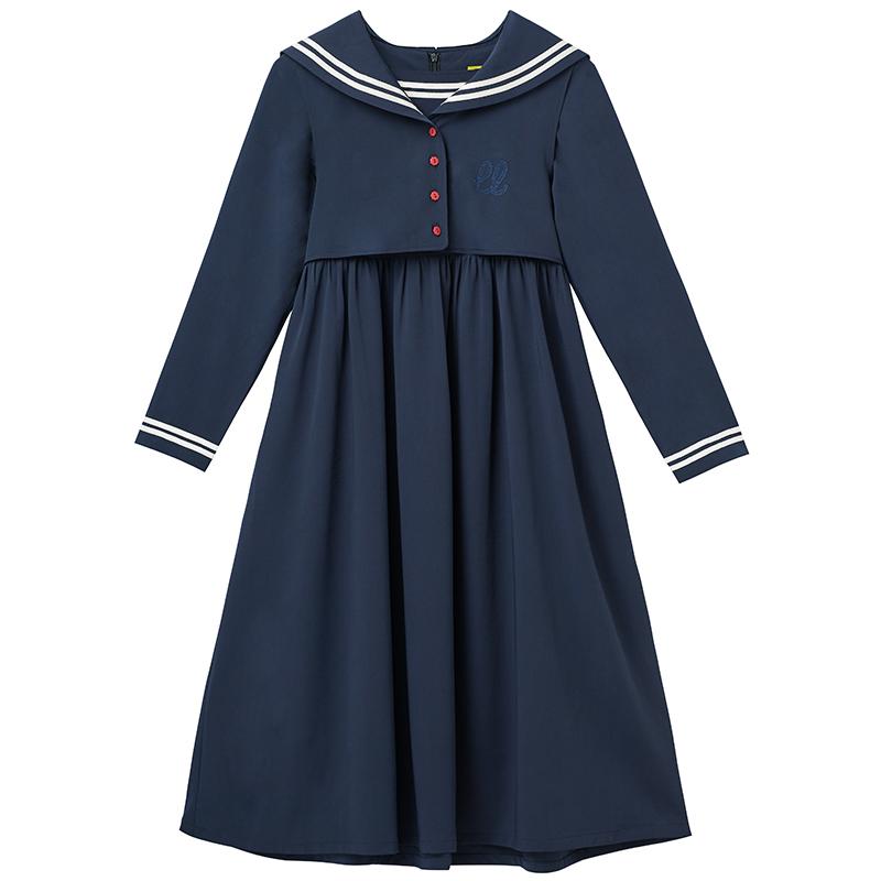 LLANO海军风韩版连衣裙日系女学生过膝水手服配大衣的长裙子春秋