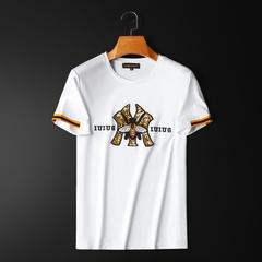 2020短袖T恤圆领丝光棉半袖 刺绣亮片小蜜蜂大码体恤 29175 P75