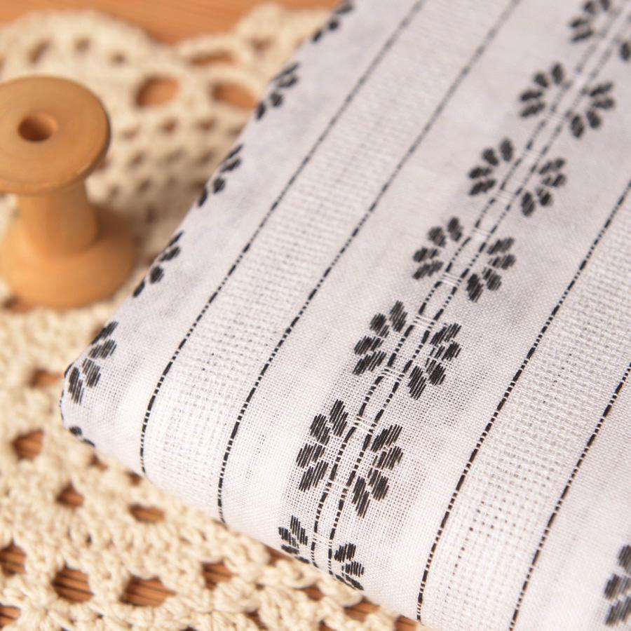 喵家手作 色织白底黑线织条纹棉麻布 cos衣服装上襦曲裾汉服面料