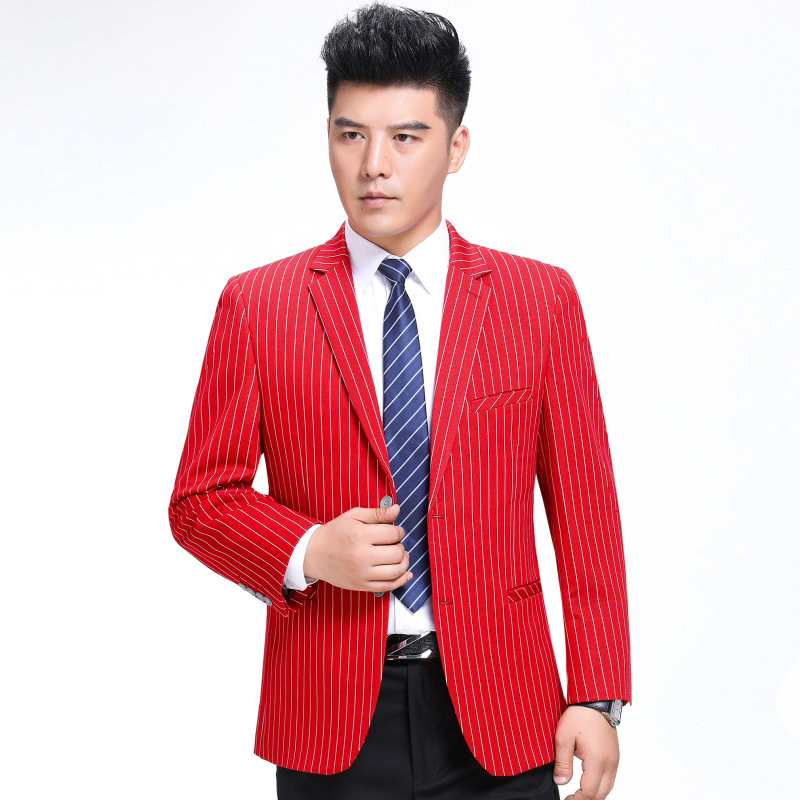 Autumn and winter mens suit fashion casual wool single suit boutique stripe coat side slit one double breasted
