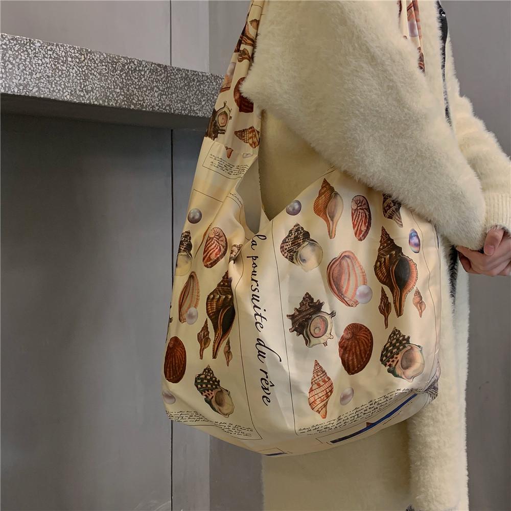不包邮梦色者·原创·珍珠贝壳与植物印花缎面包包女ins大容量单肩斜跨