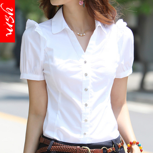 夏季V领职业衬衫女装正装短袖衬衫工装女韩版白领工作服白衬衣女