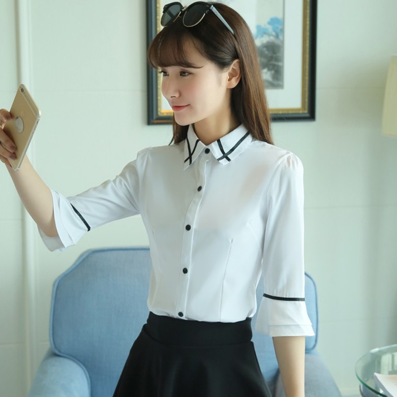 2017夏季新款宽松大码喇叭袖衬衫七分袖修身衬衣白色雪纺衫女短袖
