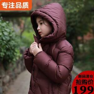 韩版女童中长款中大童冬新款棉服