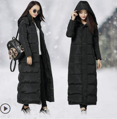 2019 new Korean super long down jacket womens middle and long over the knee loose and thickened large coat white duck down trend