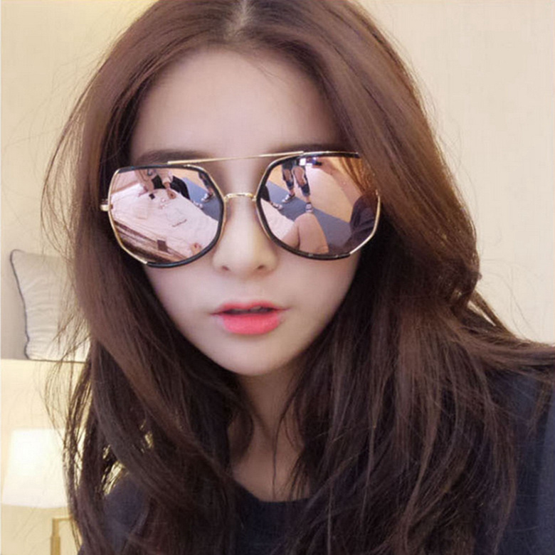 New large frame sunglasses Korean version of Star online red men and women round face thin driving Fashion Sunglasses Women
