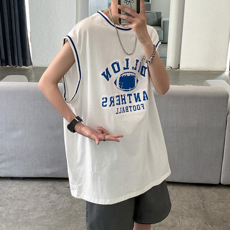 21夏季新款坎肩背心男流行纯棉宽松印花圆领个性t恤B318-Z18-P30