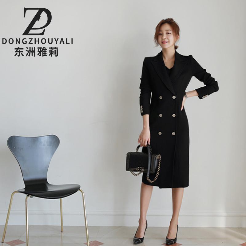东洲雅莉西装裙西服连衣裙2018秋冬季新款长袖修身黑色职业中长裙