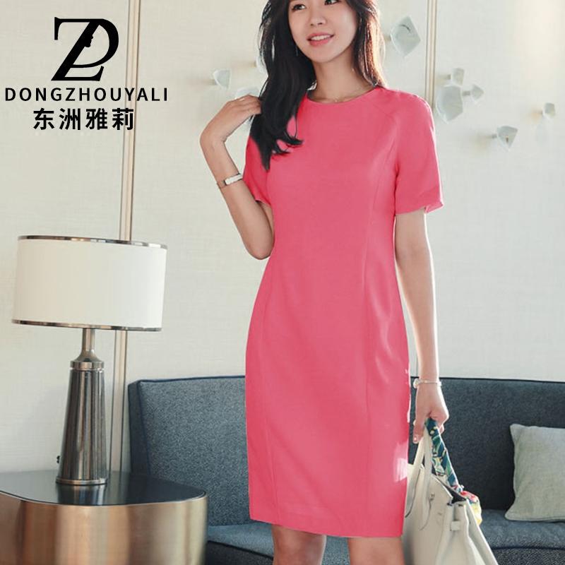 东洲雅莉连衣裙女2018春夏装新款知性简约修身短袖中长款泡泡袖裙