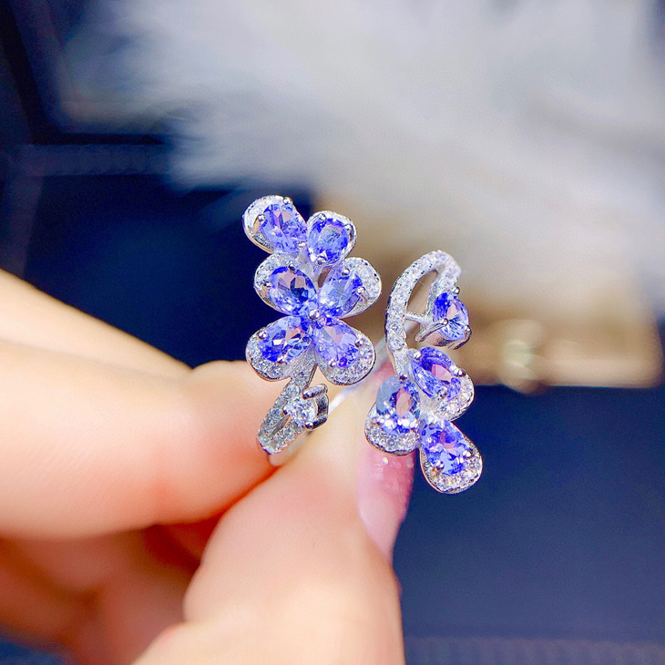 Jewelry set 925 Sterling Silver Plated 18K white gold inlaid with natural Tanzanite Ring Bracelet Earring Pendant female