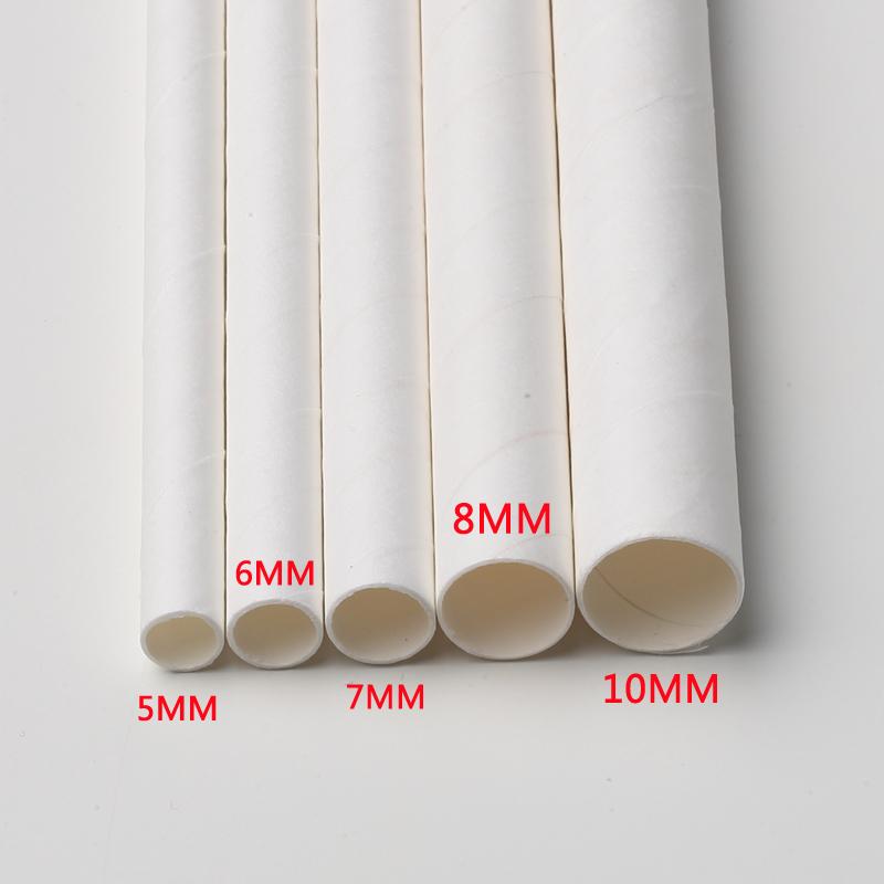 100支包邮 双童可降解一次性6*146mm纯白可弯曲冷饮短款纸质吸管