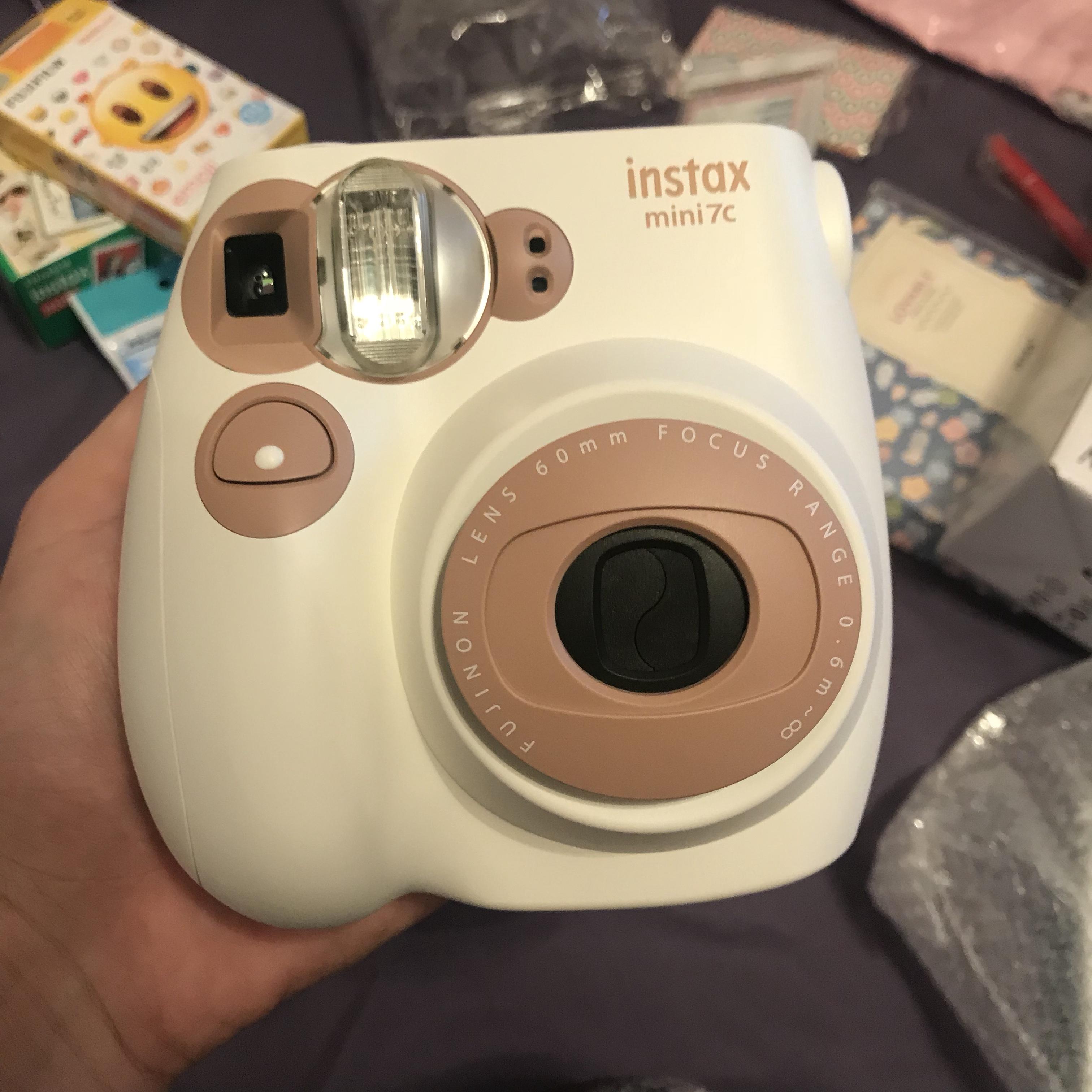 富士拍立得熊猫mini7s相机7c奶咖入门级一次成像立拍得迷你7s相机