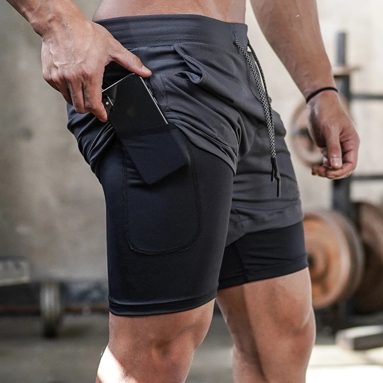 Sports shorts Capris Multi Pocket double layer mobile phone towel fitness pants mens running leisure outdoor loose